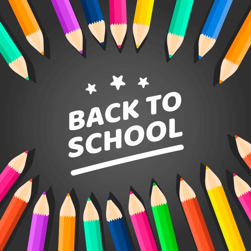 彩色铅笔设计开学季返校矢量素材(EPS/AI/免扣PNG)
