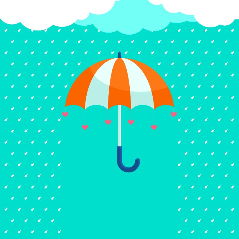 下雨天和雨伞矢量素材(EPS/AI)