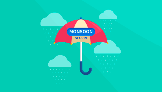 雨季和雨伞背景矢量素材(EPS/AI)