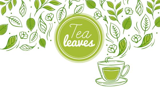 手绘茶叶和茶杯背景矢量素材(EPS/AI/PNG)