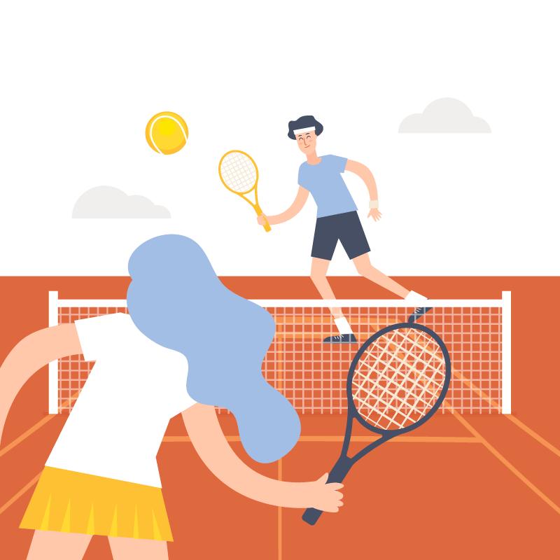 男女打网球矢量素材(EPS/AI)