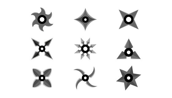 忍者手里剑集合矢量素材(EPS/AI/PNG)