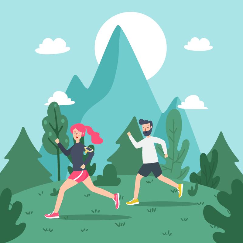 男子和女子户外跑步矢量素材(EPS/AI)
