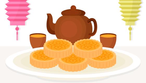 中秋节月饼背景矢量素材(EPS/AI/PNG)