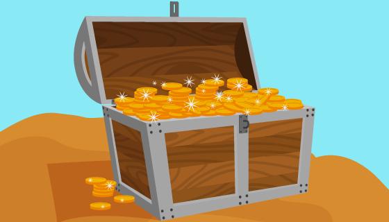 金币宝箱矢量素材(EPS/AI/PNG)