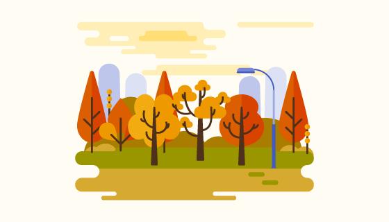 公园秋天背景矢量素材(EPS/AI/PNG)