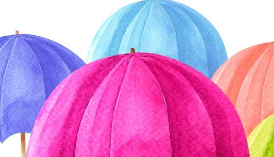 水彩雨伞设计雨季背景矢量素材(EPS/AI/PNG)