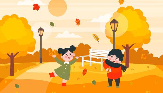 秋天公园玩耍的孩子矢量素材(EPS/AI)