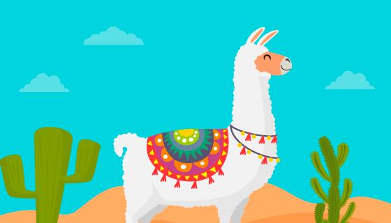 可爱的羊驼矢量素材(EPS/AI)
