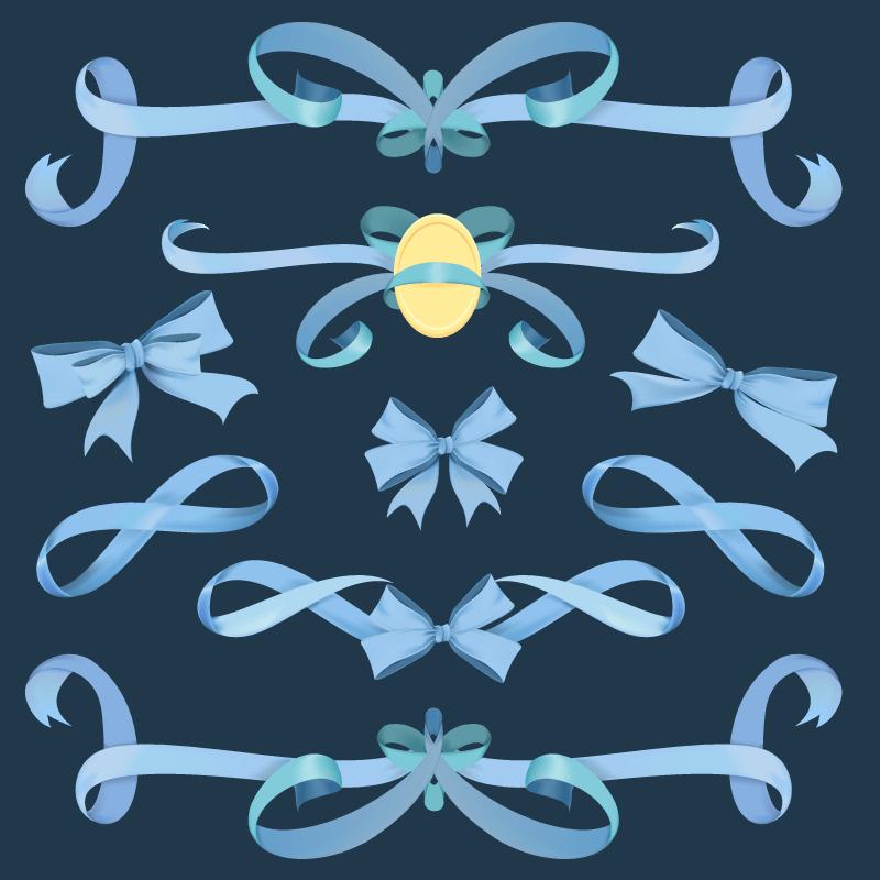 蓝色丝带矢量素材(EPS/免扣PNG)