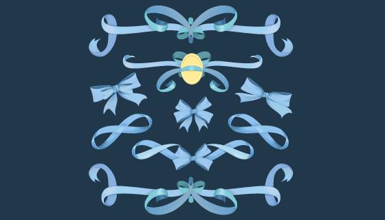 蓝色丝带矢量素材(EPS/PNG)