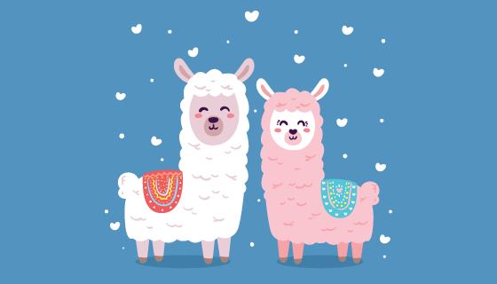 可爱的情侣羊驼矢量素材(EPS/AI/PNG)