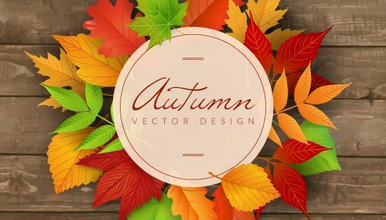 木桌上的彩色秋叶矢量素材(EPS/AI)