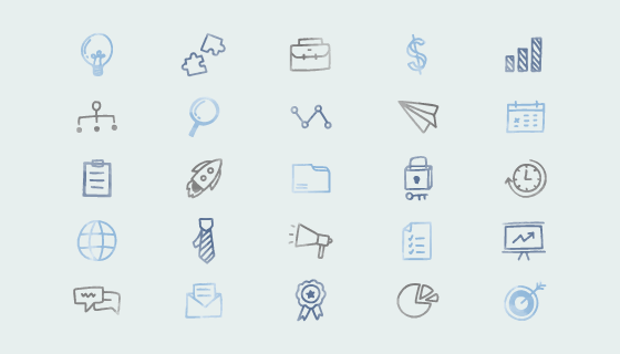 手绘商业图标矢量素材(EPS/PNG)