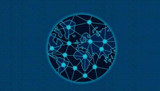 区块链链接世界概念矢量素材(EPS/AI)