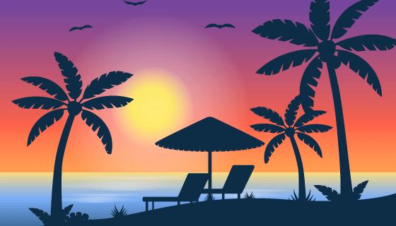 热带日落海滩背景矢量素材(EPS/AI)
