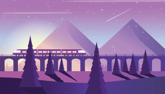 日落中的火车矢量素材(AI/SVG)
