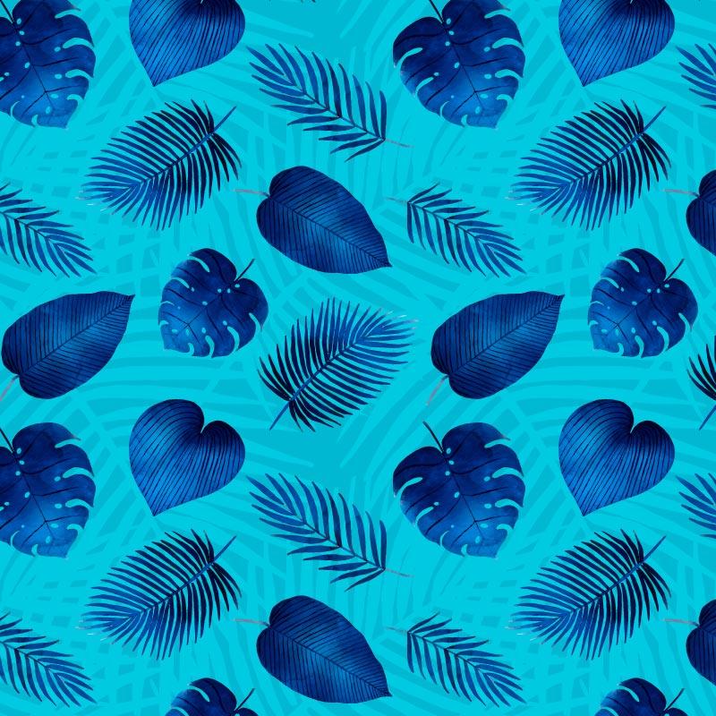 蓝色热带叶子矢量素材(EPS/AI)