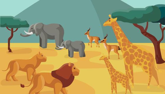 大草原和野生动物矢量素材(EPS/AI)
