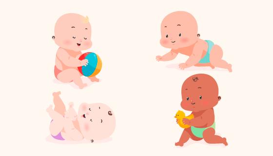 可爱的婴儿矢量素材(EPS/AI/PNG)