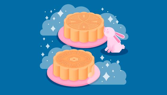 月饼和兔子中秋节背景矢量素材(EPS/AI/PNG)