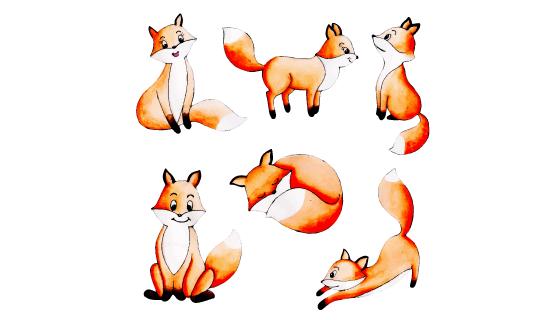 可爱的狐狸矢量素材(EPS/PNG)