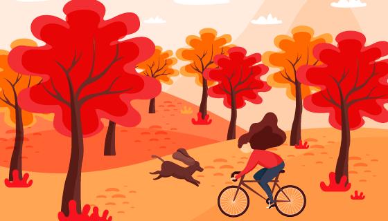 骑自行车的女子秋天背景矢量素材(EPS/AI)