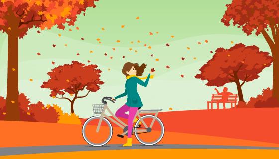 公园里的人们秋天背景矢量素材(EPS/AI)
