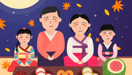 全家团圆过秋夕节矢量素材(EPS/AI)
