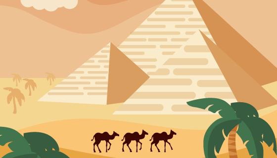埃及沙漠金字塔景观矢量素材(EPS/AI)