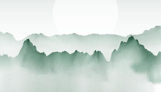 手绘水彩山脉景观矢量素材(EPS)