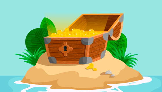 孤岛上的宝藏矢量素材(EPS/AI)