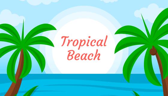 热带海滩背景矢量素材(EPS/AI)