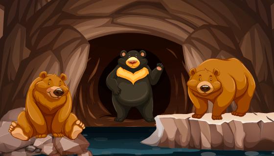 洞穴里的熊矢量素材(EPS)