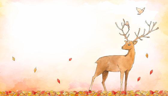手绘水彩鹿秋天背景矢量素材(EPS/AI)