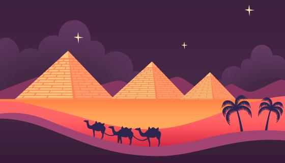 埃及金字塔和骆驼商队夜景矢量素材(EPS/AI)