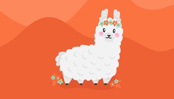 可爱的羊驼矢量素材(EPS/AI/PNG)
