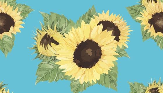 手绘向日葵背景矢量素材(EPS)