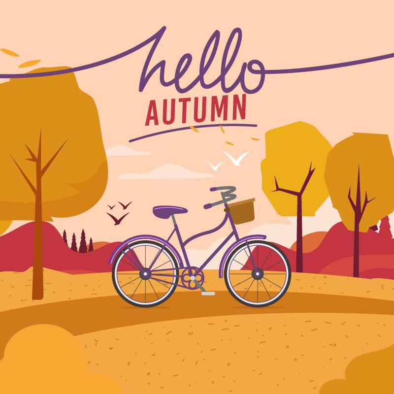 自行车设计秋天背景矢量素材(EPS/AI)
