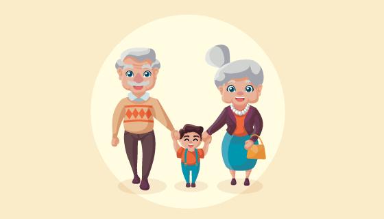 可爱的祖父母节矢量素材(EPS/AI/PNG)