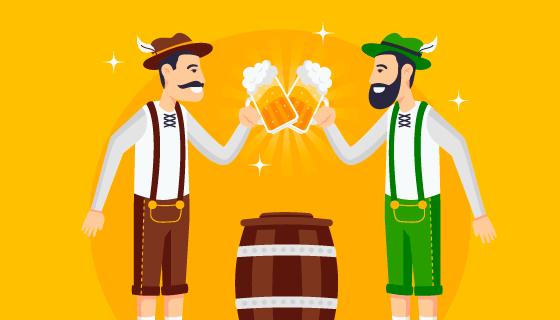 开心碰杯啤酒节矢量素材(EPS/AI)