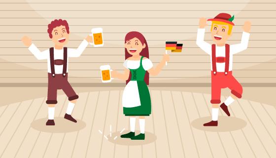 人们开心庆祝啤酒节矢量素材(EPS/AI)