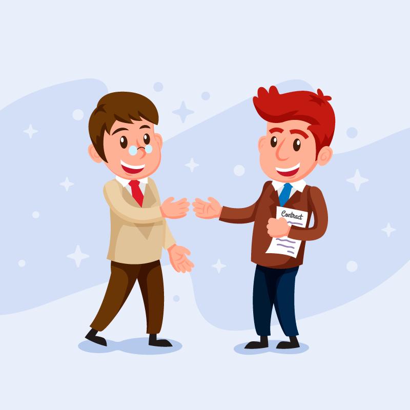 微笑的推销员与客户矢量素材(EPS/AI/免扣PNG)