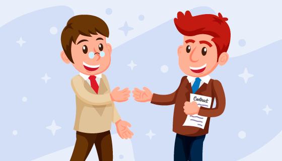 微笑的推销员与客户矢量素材(EPS/AI/PNG)