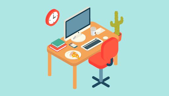 现代办公室办公桌矢量素材(EPS/AI/PNG)