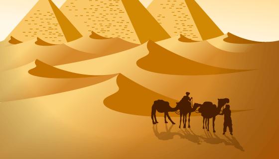 埃及沙漠景观矢量素材(EPS/AI)