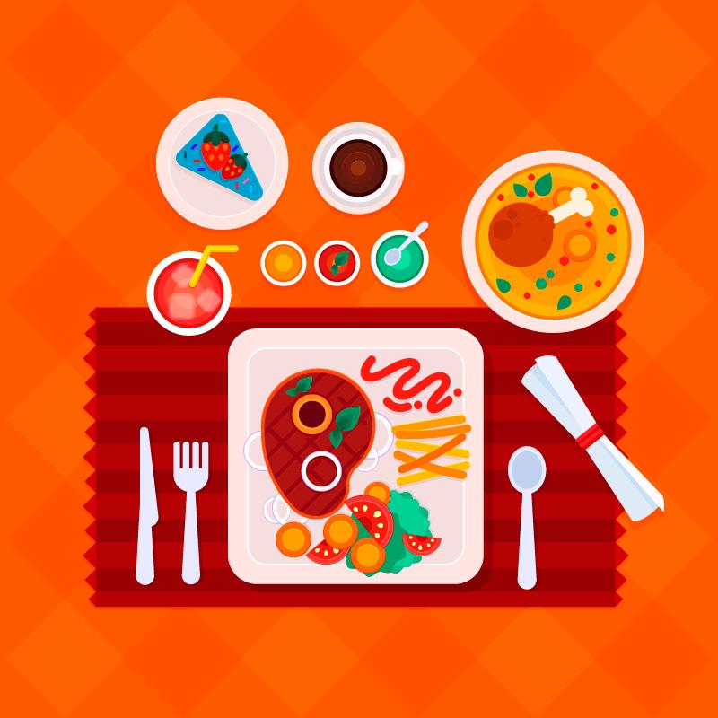 俯视视角美味的食物矢量素材(EPS/AI/免扣PNG)