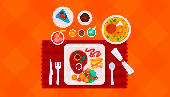 俯视视角美味的食物矢量素材(EPS/AI/PNG)