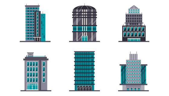 现代办公大楼矢量素材(EPS/AI/PNG)