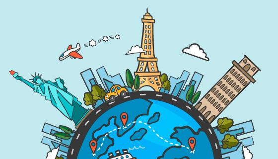 世界旅游日背景矢量素材(EPS/AI/PNG)